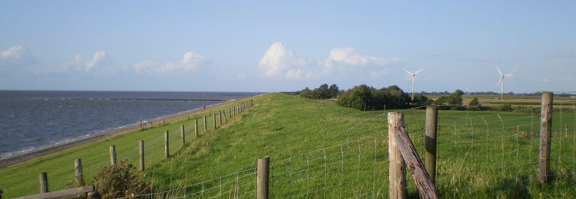Weite Landschaft, grüner Deich und Meer, Deichland in Tossens / Butjadingen, Nordsee