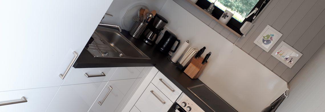 Moderne Küche mit Backofen, Geschirrspüler und Cerankochfeld